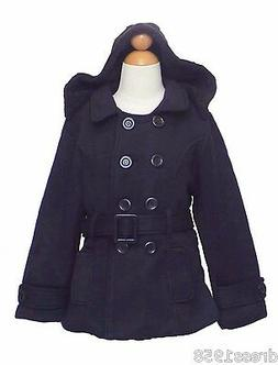 Girls  Winter Dress Coat Jacket, Dark Blue, Size: X- Large