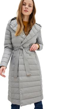 DASTI Gray Hooded Med-lenght Long Down Winter Coat for Women