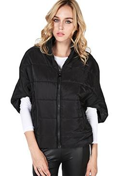 Halife Women's Half Sleeve Warm Coat Jacket Zip up Batwing S