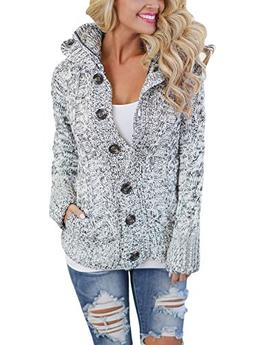 Asvivid Womens Hooded Cable Knit Button Down Loose Sweater C