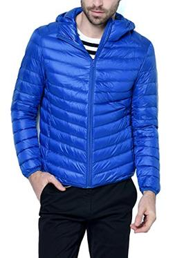 HENGJIA Men's Hooded Packable Down Puffer Coat Lightweight D