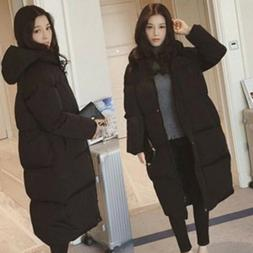 Hooded Padded Long Down Jacket Coat Womens Winter Warm Parka