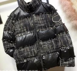 Hot sale Woman Stand Collar Down Parka Thick Warm Coat Black