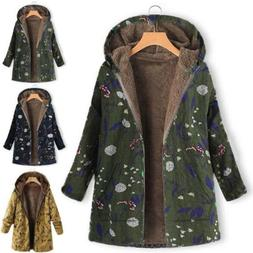 hot Women Winter Warm Outwear Floral Print Hooded Pockets Vi
