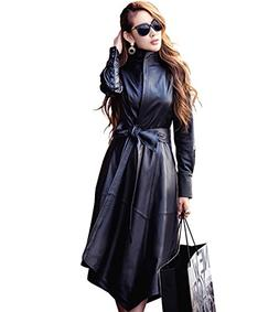 LAI MENG FIVE CATS Women's Instyles Faux Leather Long Gothic