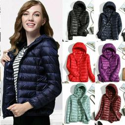 Jacket Coat Winter Women's Hoodie Down Puffer Packable Ultra