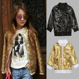 Kid Girls Sequins Winter Warm Coat Fashion Jacket Thick Warm