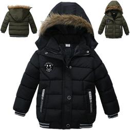 Kids Baby Boy Winter Warm Fur Hooded Thick Coat Cotton Padde