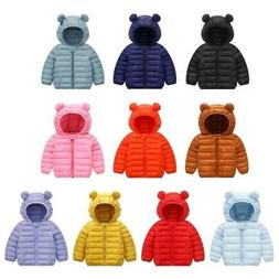 Kids Baby Boys Girls Winter Warm Outerwear Hooded Coat Toddl