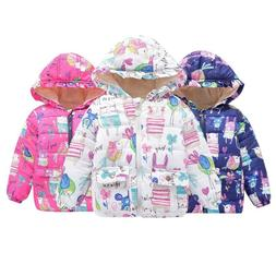 Kids Baby Girls Winter Cartoon Coat Zipper Jacket Warm Outer