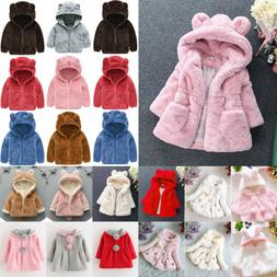 Kids Baby Girls Winter Warm Fleece Coats Faux Fur Hooded Jac