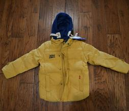 Kids boy/girl mustard duck down hooded winter coat 6-7YEARS