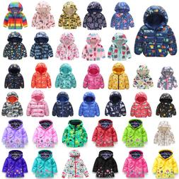 Kids Boys Girls Winter Coat Cartoon Hooded Zip Jacket Parka
