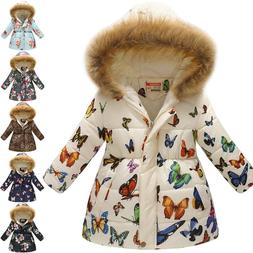 Kids Girls Hoodie Padded Puffer Jacket Winter Cotton Parka D