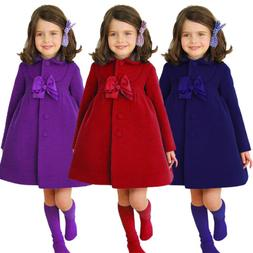 Kids Girls Long Princess Trench Coats Winter Outerwear Wind