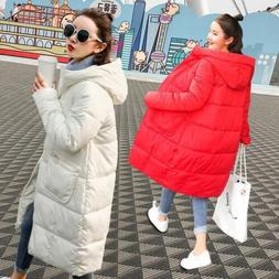 Korean Winter Women's Thicken Hoodie Long Down Cotton Jacke