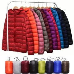 L-3XL Plus Womens Winter Packable Hoodie Down Jacket Hooded