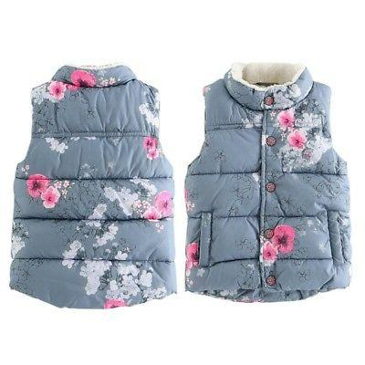 2-7Y Newborn Baby Girls Warm Outerwear Floral Coat Vest Jacket Tops