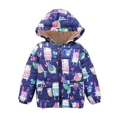 2-7Y Toddler Baby Boys Girl Hooded Floral Winter