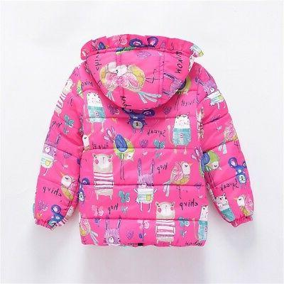 2-7Y Baby Kids Boys Girl Warm Floral Winter Outwear
