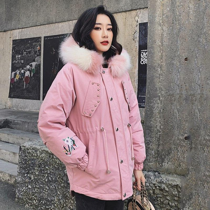 2019 Slim <font><b>Winter</b></font> <font><b>Women's</b></font> Size Female Hooded Collar Parka Padded Pocket