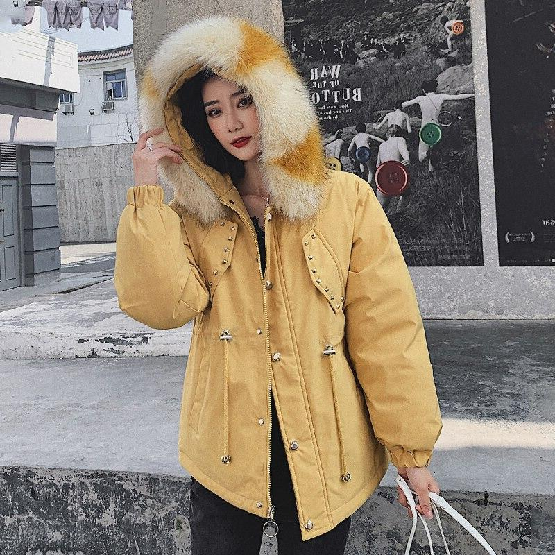2019 <font><b>Winter</b></font> <font><b>Women's</b></font> Jacket Size Female Fur Collar Padded Big