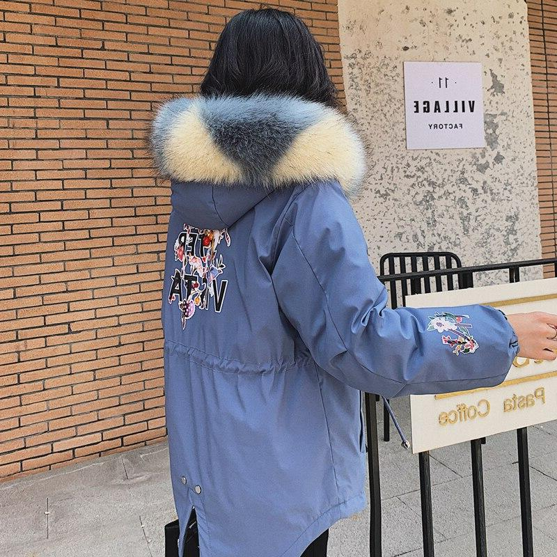 2019 Time-limited <font><b>Winter</b></font> Large Size Hooded Fur Collar Padded With Pocket