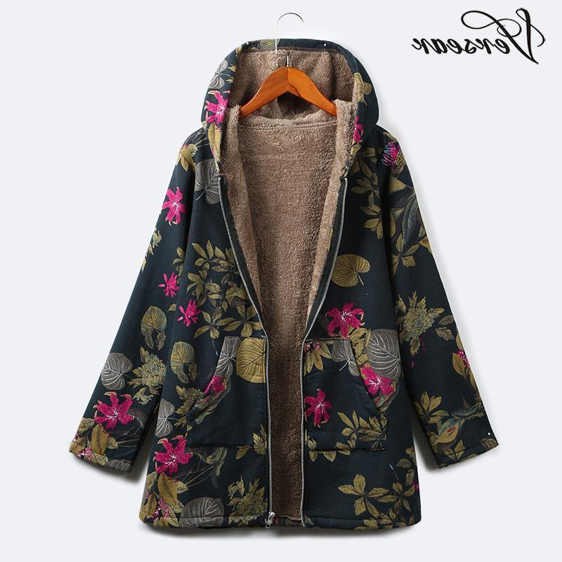 Versear <font><b>Winter</b></font> Women Warm Faux Fur Parka Casual Print Pockets Vintage Windbreaker Outwear Plus Size