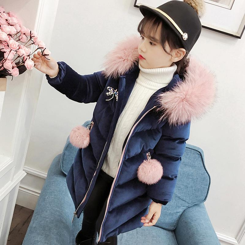 2019 Down Thicken <font><b>Winter</b></font> <font><b>Coat</b></font> Hooded Jackets 3-12T