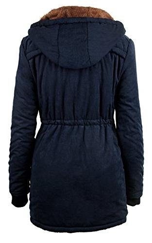 4HOW Women Military Fur Lined Winter Hooded US