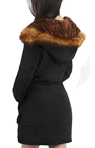 4HOW Womens Hooded Winter Coat Faux Fur Size