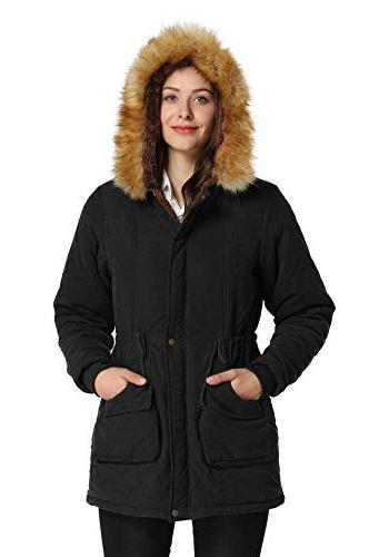4HOW Womens Parka Hooded Winter Lined Parkas Coat Size