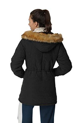 4HOW Hooded Coat Lined Faux Long Parkas Size