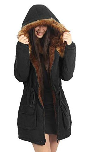 4HOW Womens Parka Hooded Lined Faux Parkas Black Size