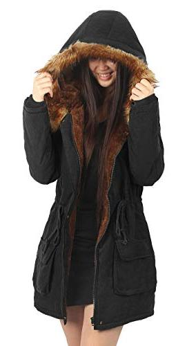 4HOW Hooded Coat Lined Faux Fur Parkas Coat Outdoor Size
