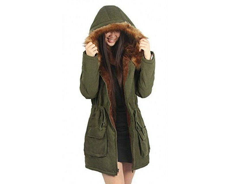 4HOW Hooded Fur Outdoor Army Green