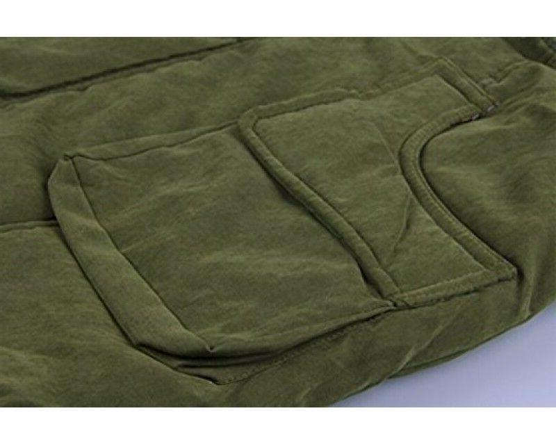 4HOW Womens Parka Hooded Winter Coat Faux Fur Army Green
