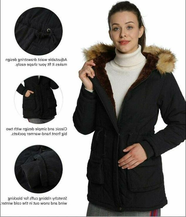 4HOW Womens Hooded Parka Jacket Warm Winter Coat Faux Fur Tr