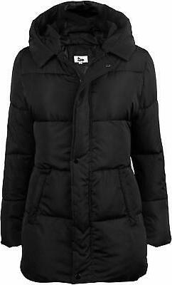 4How Womens Hooded Warm Winter Puffer Coat Mid Length Parka