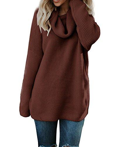 Beautife Womens Oversized Loose High Neck Sweaters Casual Lo