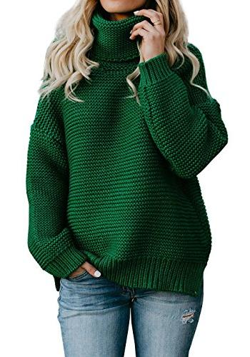 womens turtleneck long sleeve sweater oversized cable