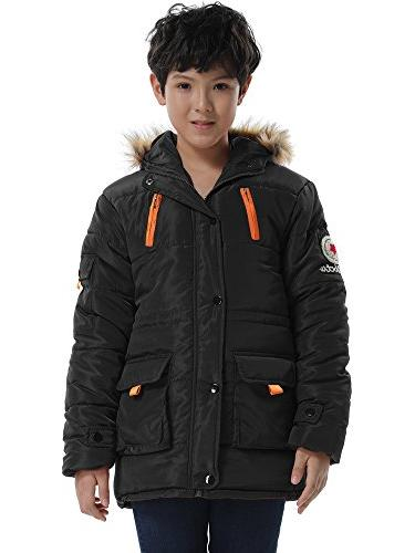Big Boy's Winter Cotton Hooded Parka Outwear Coat with Faux