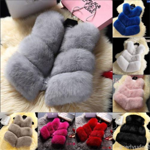 Chic Women Winter Faux Fox Fur Jacket Coat Outwear Vest Warm