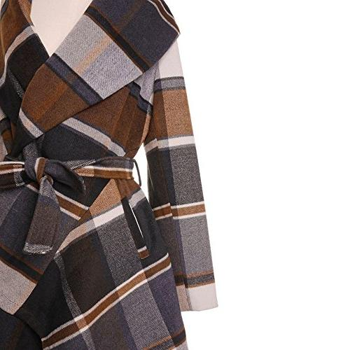 Chicwish Women's Shawl Open Front Long Check Brown, Large