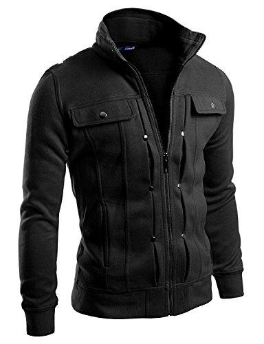 Doublju Men Comfortable Slim Fit Hight Neck Zip Up Jacket Bl
