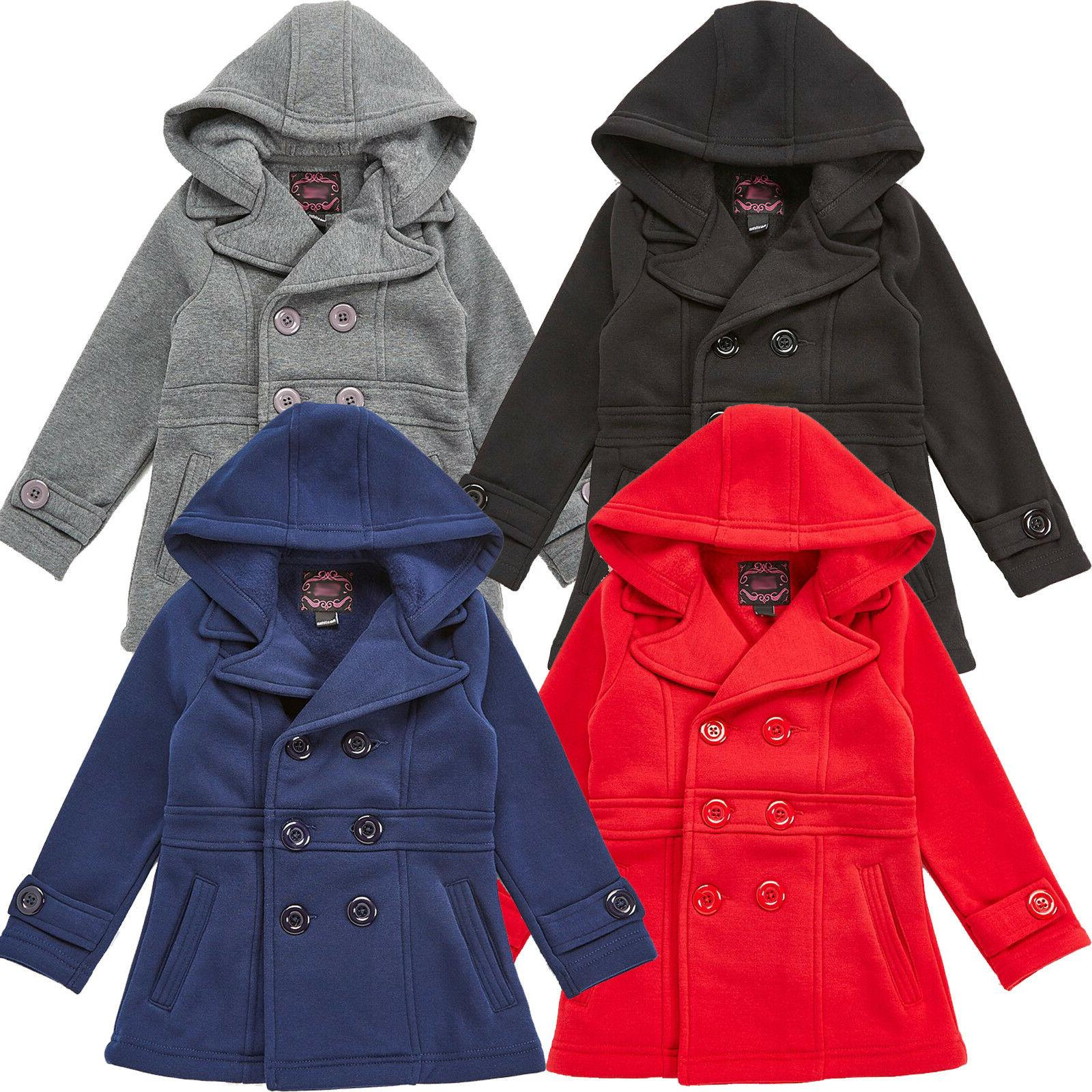 Girls Pea Coat, Dress Coat with Hood Red, Navy Blue,Gray, Bl