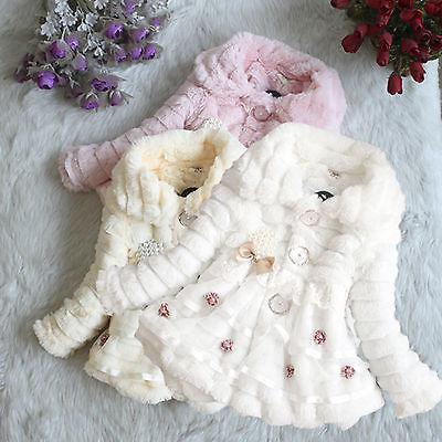 Kids Baby Girls Winter Warm Hooded Coat Toddler Fur Fleece J