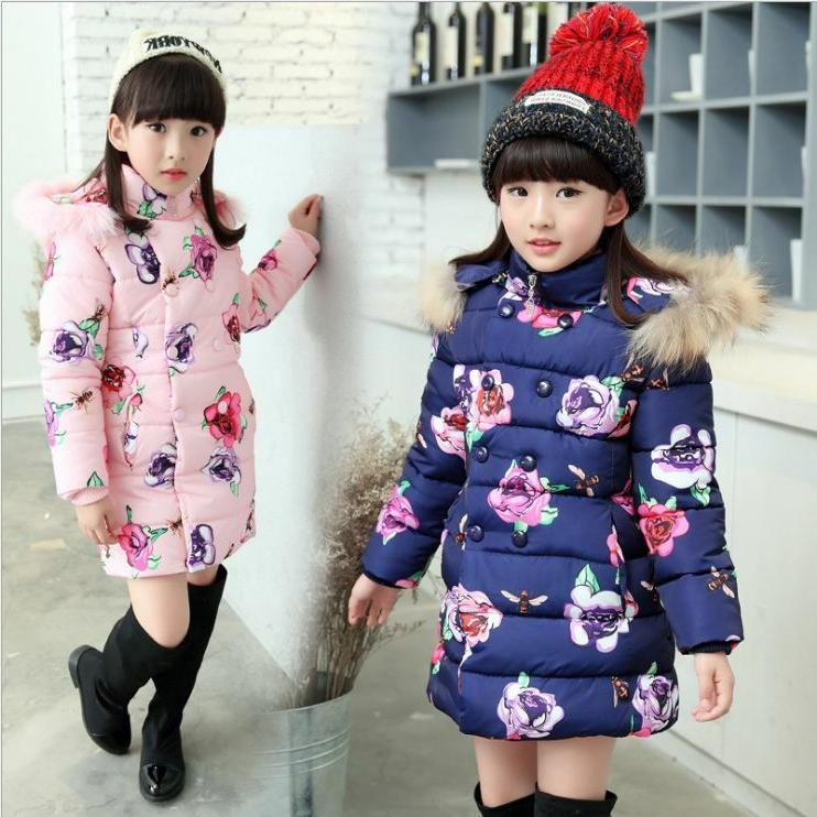 Kids Floral Padded Cotton Fur Parka