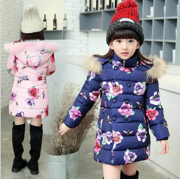 Kids Girls Floral Jacket Winter Hooded Cotton Coat Fur Parka