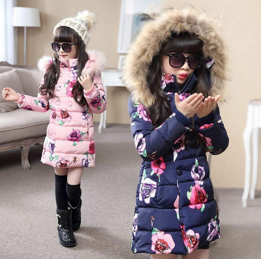 Kids Girls Floral Padded Jacket Winter Hooded Thick Cotton C